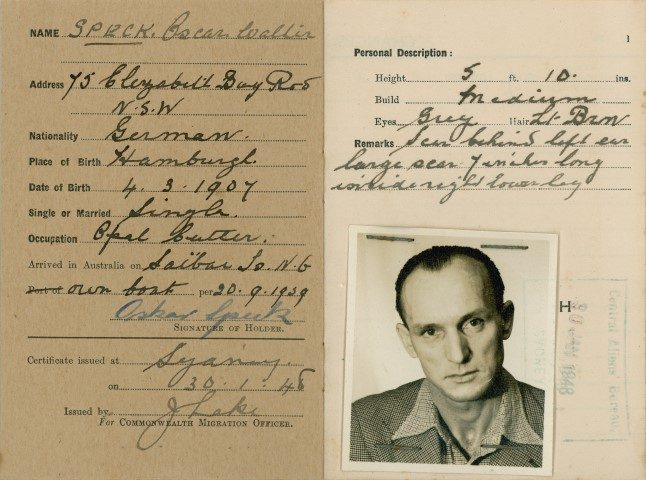 Certificate of registration issued to Oskar Speck